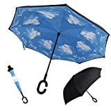 GREATLY Reverse Folding Double Layer Inverted Umbrella C-shaped Hands Handle Cars Reversible Umbrella Windproof UV Protection Travel Umbrella Length 80cm Open After Umbrella Diameter 106cm