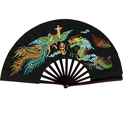 Bamboo Kung Fu Fighting Fan Dragon And Phoenix (Black)