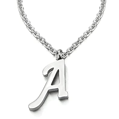 COOLSTEELANDBEYOND Womens Mens Steel Name Initial 26 A to Z Alphabet Letters Pendant Necklace with 20 inches Chain wIgi6q