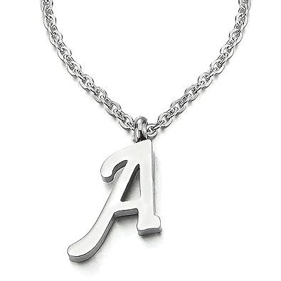 1c741a88cf3 COOLSTEELANDBEYOND Nom Initial Lettre Alphabétique A Pendentif - Collier  pour Femmes Homme - Acier - Couleur