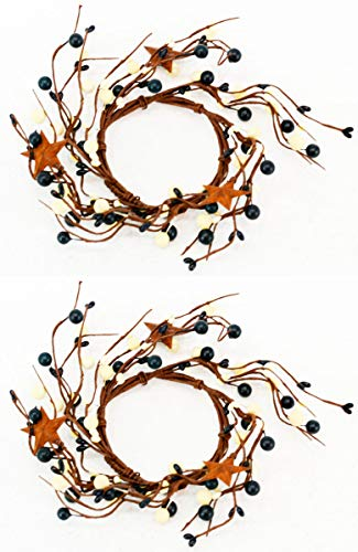 OBI Berry Metal Star Candle Rings Mini Wreaths 2pk - Country Primitive Small Floral - Garland Holder Metal Candle