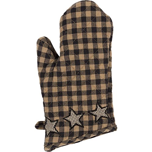 VHC Brands Classic Country Primitive Tabletop & Kitchen - Farmhouse Star Black Oven Mitt, Charcoal