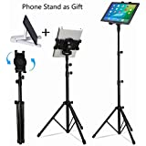 iPad Tripod Stand, LetsRun Height Adjustable Foldable Floor Tablet Tripod Stand for iPad mini, iPad Air, iPad 1,2,3,4 and all 7-10 Inch Tablets, Carrying Case and Phone Stand as Gifts