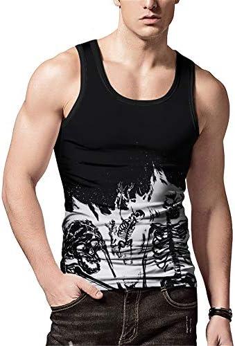 タンクトップ メンズ メンズラウンドネックベスト夏プリントノースリーブカジュアルシャツグラフィティタイトベストカジュアルホリデービーチパーティー 夏 スポーツ フィットネス (色 : C1, Size : XL)