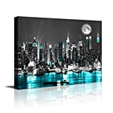 canvas-wall-art-blue-sea-New-York-paintings-Wall-ArtBlack-and-White-Stretched-wall-art-for-bedroom-artwork-Can
