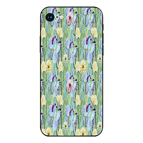 Phone Case Compatible with iphone7 iphone8 mobile phone covers phone shell Brandnew Tempered Glass Backplane,Cactus Decor,Types of Cactus Plant Pattern with Flowers and Buds Fruits Artwork Image,Green