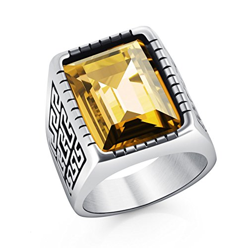 Classic Mens Boys Yellow Crytsal Rings Great Wall Stainless Steel Biker Ring Size 11 Birthday Gifts Birthday Boy Ring