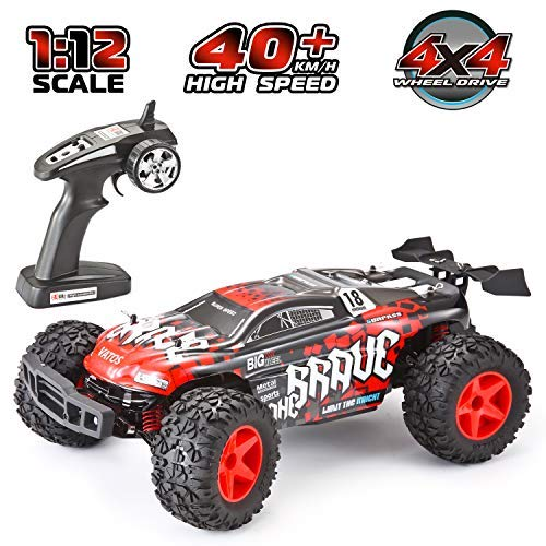 VATOS RC Car Off Road High Speed 4WD 40km/h 1:12 Scale 50M Remote Control Truck, 15 Mins Playing Time 2.4GHz Electric Vehicle Buggy Truck with LED Night Vision (RED+White)
