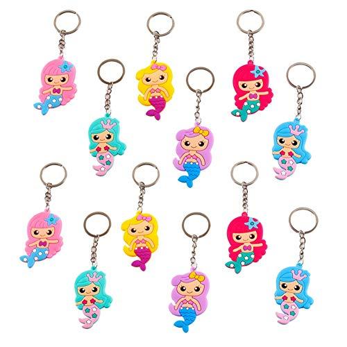 Kids Birthday Souvenir (CheeseandU 24Pcs Cute Mermaid Keychain PVC Keyring Kids Mermaid Themed Party Favor Pinata Stuffers, Party Goodie Bags for Kids Girls Boys Toy Souvenirs Birthday)