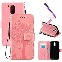 Moto G4 Play Case,LEECOCO Embossed Floral 3D Bling Crystal Diamonds Butterfly with Card Slots Flip Stand PU Leather Wallet Case for Motorola Moto G4 Play / Moto G Play 4th Wishing Tree Pink
