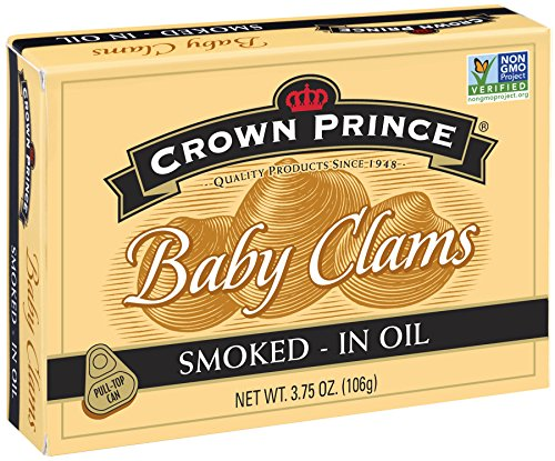 Crown Prince Smoked Baby Clams in Oil, 3.75 Ounce (Pack of 12) (Baby Clams)