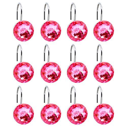Pink Shower Curtain Hooks - BEAVO Acrylic Fashion Decorative Home Rolling Shower Curtain Hooks Rhinestones Bathroom Bath Baby Room Bedroom Living Room Decor Set of 12 Rings (Pink)