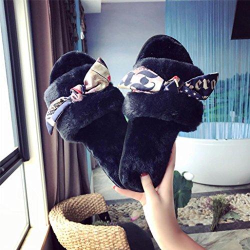 Pantoufles Chaussons Faux SOMESUN Flip Chaussures Appartement Doux Aux Famille Fourrure Confortable Duveteux Sandales Femmes Fiasco Peluche Appartement des Noir Pantoufle UUfqE