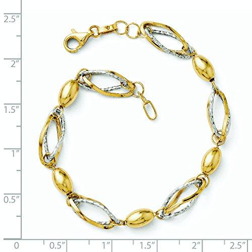 14 carats-Bicolore taille diamant poli Bracelet JewelryWeb 7 cm