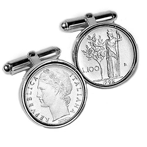 Tokens & Icons Sterling Silver Authentic Italian Lire Cufflinks