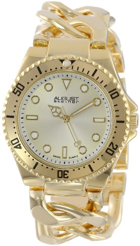 August Steiner Women's AS8079YG Swiss Diver Gold-Tone Twist Chain Bracelet Watch