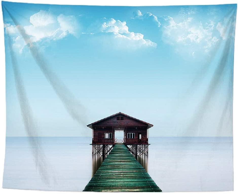 izielad Oc/éan Tapisserie Tenture Murale Bleu Mer Paysage Paysage Nature Mur Art Boh/ème Home Decor pour Chambre Dortoir Coll/ège Salon 73X95CM 28.7X37.4IN