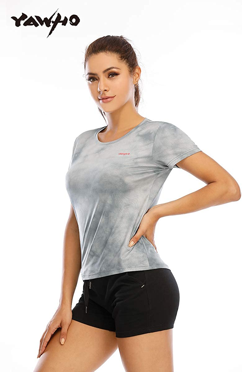 fitness per corsa maglietta sportiva da donna palestra traspirante girocollo allenamento YAWHO ad asciugatura rapida a maniche corte