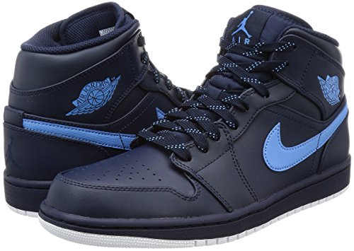 Nike Mens Air Jordan 1 Mid Basket Scarpa Ossidiana / Università Bluewhite