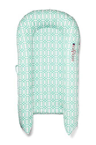 DockATot Grand Dock (Minty Trellis) - Perfect for Cuddling, Lounging, Co Sleeping & Crib to Bed Transition - Breathable & Hypoallergenic - Lightweight for Easy Travel - Suitable from 9-36 months (Dock Stage)