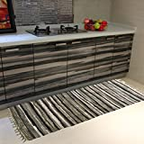 HOMECOVER Area Rugs Rags Hand Made Cotton Stripe Runners Rug Pad Carpet Mats For Kitchen Bathroom Door Bedroom Apartment Sofa Window Pet Table Floor Any Place (2'3'' x3'11, Gray)