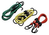 Zacharias High Strength Elastic Bungee / Shock Cord Cables, Luggage Tying Rope With Hooks, Set Of 3