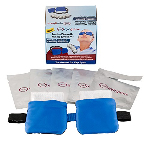 Dry Eye Mask with 5 Instant Heating Pads by EyeGiene, Hot Compress System Designed to Relieve Dry Eye, Blepharitis, Styes, Stress or Tired Fatigued Eyes. No Microwave Needed. - Instant Moisture Mask