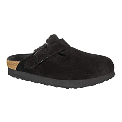 55aa4f712 Birkenstock Boston Platform Black Shearling Suede Sandal 36 (US Women's ...