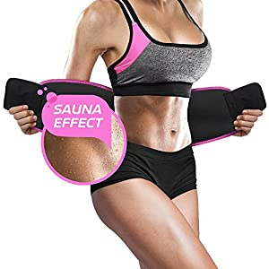 Perfotek Waist Trimmer Belt, Weight Loss Wrap, Stomach Fat Burner, Low Back and Lumbar Support with Sauna Suit Effect, Best Abdominal Trainer (Trimmer Belt - Pink)