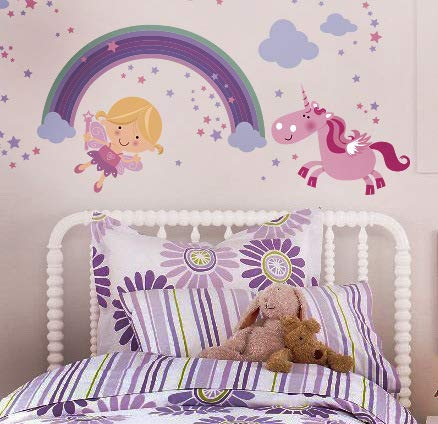 Fairy Unicorn Baby Girl Room Décor Stickers - Princess Playroom Wall Decals with Free Gift! 11