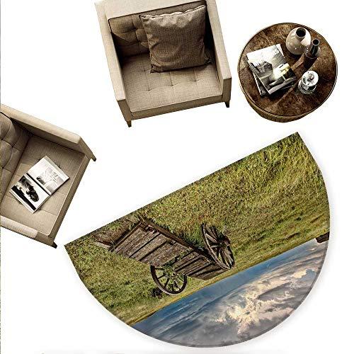 (Barn Wood Wagon Wheel Semicircle Doormat Old Prairie Cart Agricultural Field Ranch Dramatic Stormy Sky Halfmoon doormats H 63