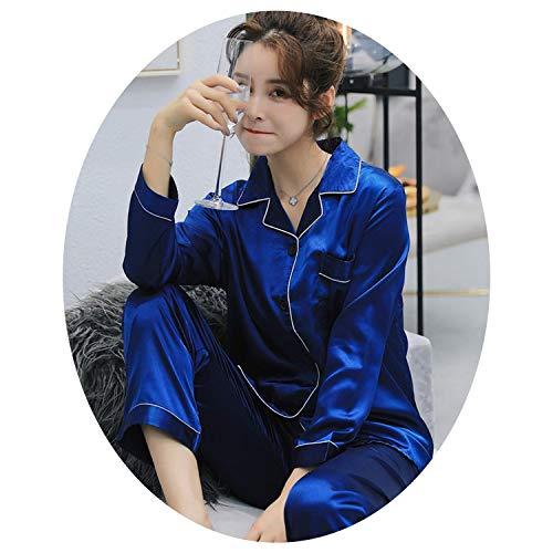 Satin Silk Pajamas Sets Long Sleeved Long Pants Couple Sleepwear Family Homewear Women & Men Lover Home Clothes,Sibaolan Women,L