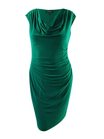 11c7658c4a39 Lauren by Ralph Lauren Women s Cowl Sheath Dress Green 16 at Amazon Women s  Clothing store
