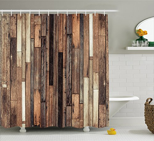 Ambesonne Wooden Shower Curtain Set, Brown Old Hardwood Floor Plank Grunge Lodge Garage Loft Natural Rural Graphic Artsy Print, Fabric Bathroom Decor with Hooks, 70 Inches, Brown