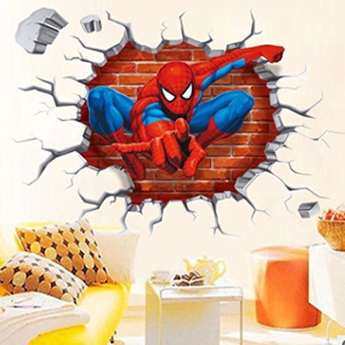 Room Decal Decor (DIY Removable Spiderman 3D Cracked Children Themed Art Boy Room Wall Sticker Home Decal, Peel and Stick Wall Decal for Kids Room Wall Decor)
