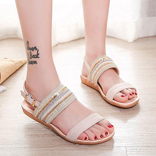 Femmes Beige Plage Sandales De Pantoufles Bohême Plates Chaussures Sunnywill EW4AOqnxW