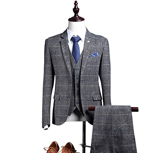 Plaid Gray Tweed Herringbone Men Suit 3 Pieces Two Buttons Single Breasted Blazer,46chest/40waist ()