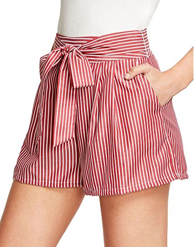 Romwe Women's Casual Summer Shorts Pocket Knot Front Striped Shorts Red M by Romwe
