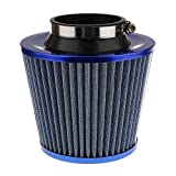 NUOLUX Car Air Filter Round Tapered Universal Cold Air Intake Kits Carbon Fiber (Blue)