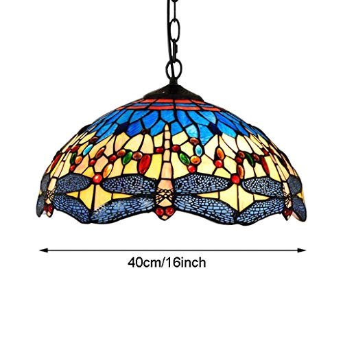 - G-D Ceiling Lamp Chandelier 16 Stained Glass Lampshade Iron Chain Indoor Wedding Room Blue and Yellow Dragonfly Decorative Lamp Ceiling Lamp