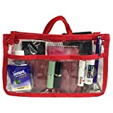Clear Handbag Organizer See Through Cosmetic Badget Insert Purse Organiser Transparent Travel Pouch Liner with handle, Red