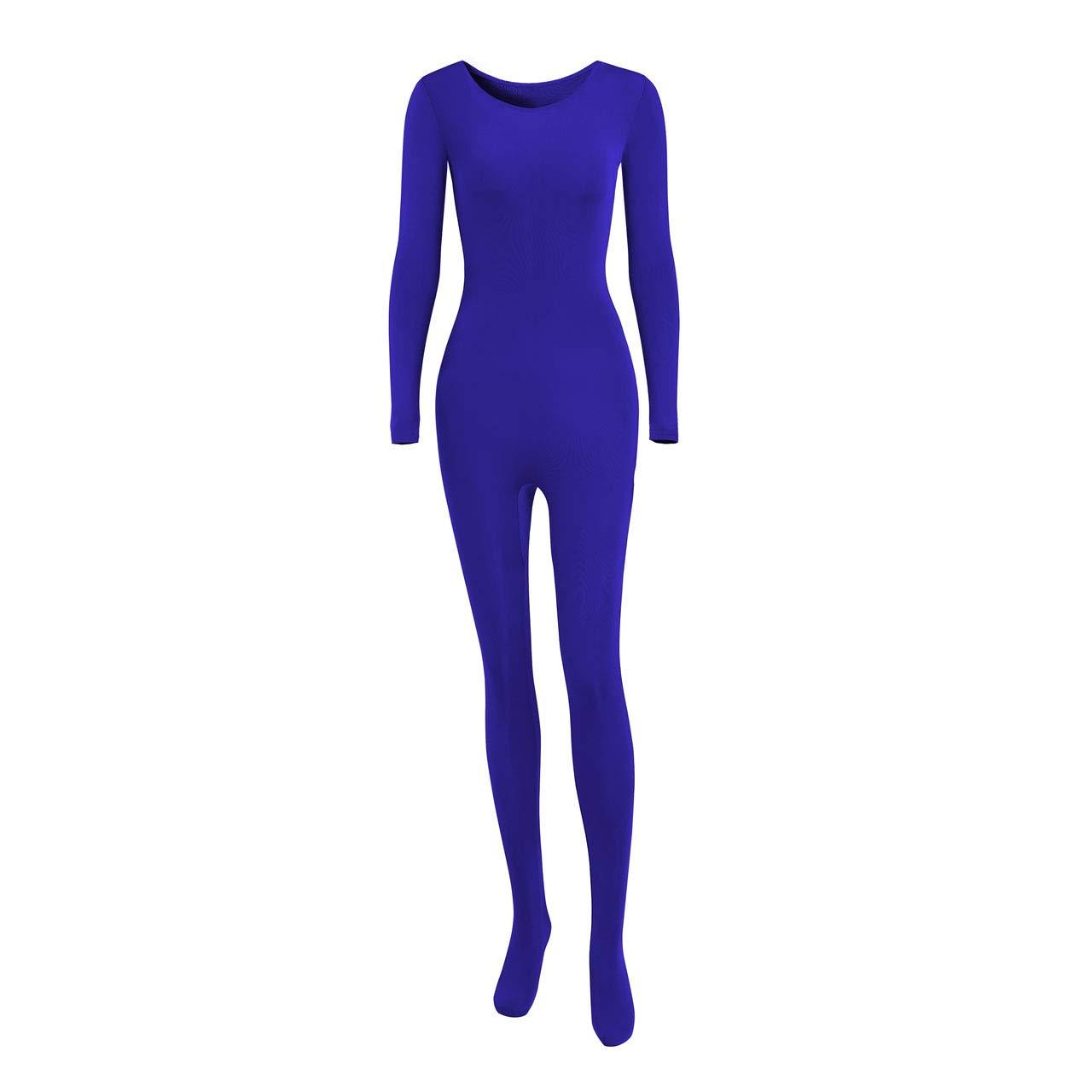Nouveau avec Pied SUPRNOWA Unisexe Encolure d/égag/ée Lycra Spandex Manches Longues Unitard XL, Bleu Royal