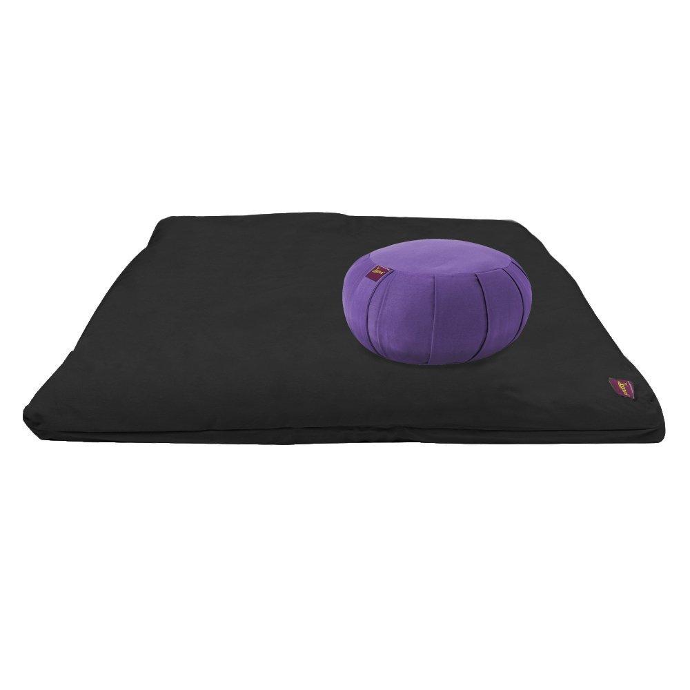 Yoga Meditation Deluxe Studio Grade Kit (set) by Yogavni (TM) (Black Zabuton and Purple Round Zafu with Cotton Filled) by YogavniTM (Image #1)