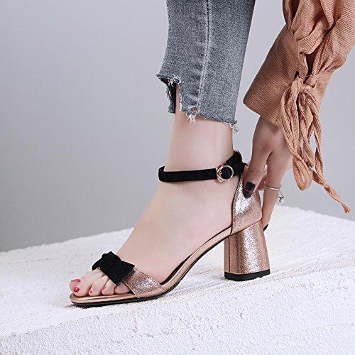 Toe Cuero Caminar Tacón L0205 Peep Sandalias WSXY Zapatilla Para Zapatos Repujado Confort Chanclas KJJDE Mujer Champagne wvSq6WY