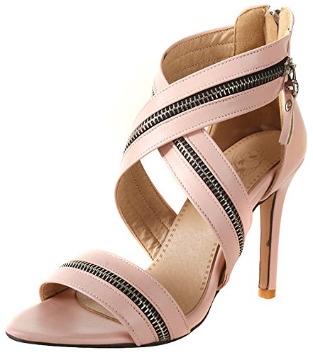 Mofri Women's Dressy Open Toe Sandals - Cross Strap Solid Color Ankle High - Stiletto High Heels Gladiators Shoes with Zipper (Pink, 4 B(M) US) ()