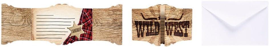 Sheriff 6 Einladungen Neu Wilder Westen Cowboy Indianer Amerika Kinder Geburtstag Karte Mottoparty Umschl/äge f/ür Kindergeburtstag und Motto-Party