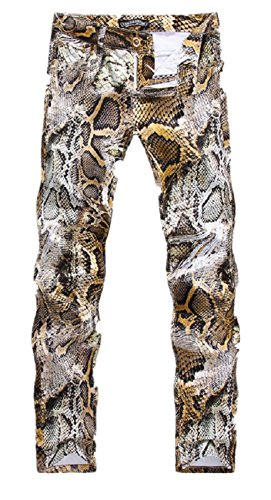 Allonly Men's Stylish Casual Snake Skin Print Slim Fit Straight Leg Club Jeans Pants ()