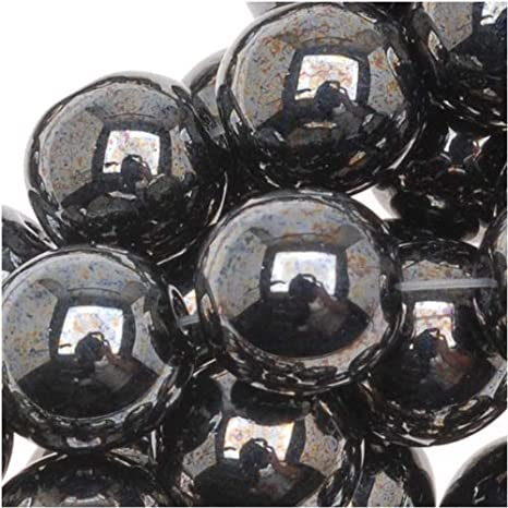 25 Hematite Luster Glass Faceted Round Beads 8MM