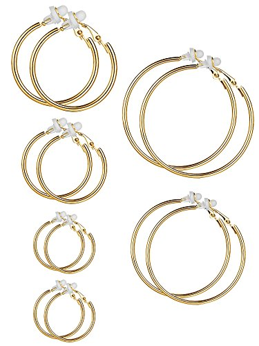6 Pairs Earrings Clip On Earrings Non Piercing Earrings Set for Women and Girls, 6 Sizes (Gold, 6 Pairs) -
