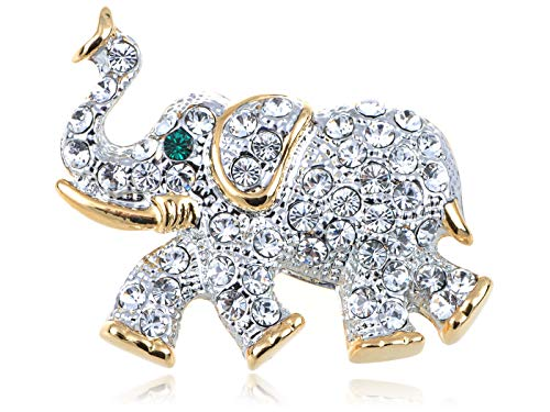 Gold Tone Clear Crystal Colored Rhinestones Silver Elephant Brooch Pin for Women